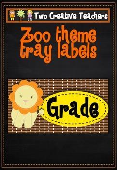 Teacher Tray Labels Zoo Theme