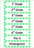 Tray labels (Admin) - Yellow & aqua stripes - Gratnells -