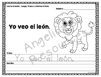 Spanish High Frequency Words: Tracing Sentences and Pictures  - Animal Theme