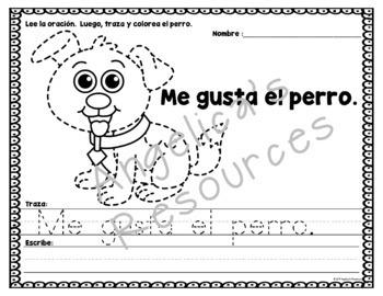 Spanish : Palabras de uso frecuente - Lee y traza oraciones - Animales