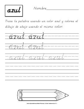 Traza los Nombres de los Colores: Ejercicios para Practicar la Letra D´nealian