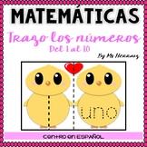 Trazar números-Escritura Centro San Valentín animales en español prek-kinder