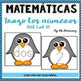 Trazar-escribir números-Escritura Estaciones matemáticas de pinguinos en español