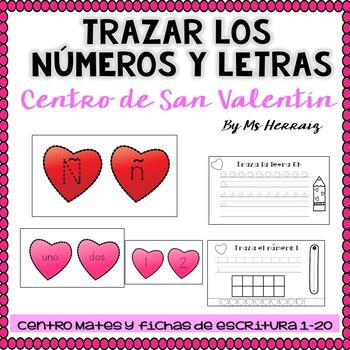 Trazas números y letras.Actividad de centro y fichas en español San Valentín