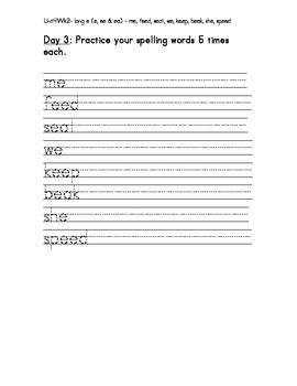 Treasure 1st Grade Spelling Practice Sheet Unit 4 Week 2