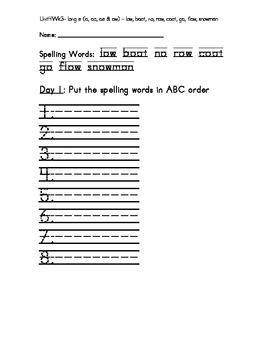 Treasure 1st Grade Spelling Practice Sheet Unit 4 Week 3