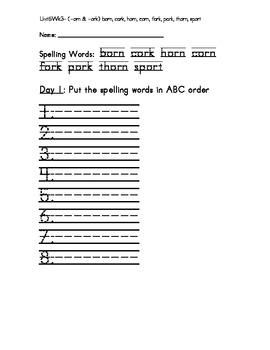 Treasure 1st Grade Spelling Practice Sheet Unit 5 Week 3