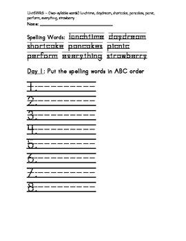 Treasure 1st Grade Spelling Practice Sheet Unit 6 Week 5