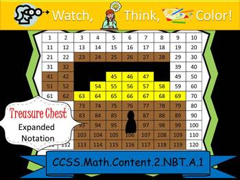 Treasure Chest Expanded Notation - Watch, Think, Color! CCSS.2.NBT.A.1