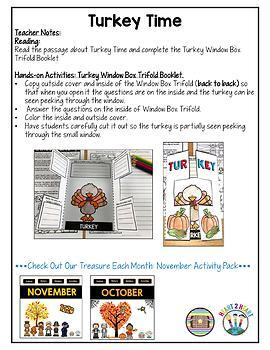 Treasure Each Month: November Activity Turkey Freebie
