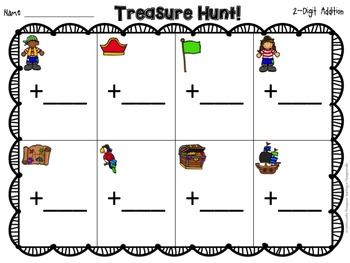 Treasure Hunt: 2-Digit Addition {Search the Room}