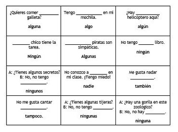 Treasure Hunt Board Game: Review of Spanish Affirmative and Negative Words