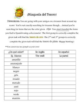 Treasure Hunt - Colors Practice - Classroom Objects Practice