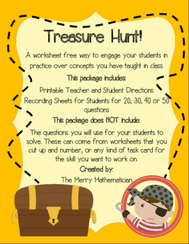 Treasure Hunt Task Card Game for Reviewing Any Subject