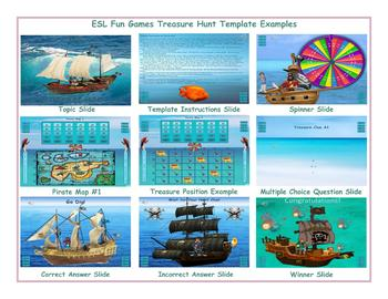 Treasure Hunt English PowerPoint Game Template-An Original by ESL Fun Games