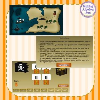 Treasure Hunt Interactive Game Algebra Factoring Polynomials Review