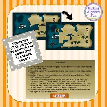 Treasure Hunt Interactive Game Algebra Relations and Functions