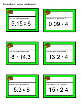 Treasure Hunt - Multiply Decimals (Basic: Decimal X Whole Number) Task CArds