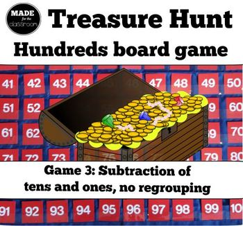 Treasure Hunt - SUBTRACTION (tens and ones) and number kno