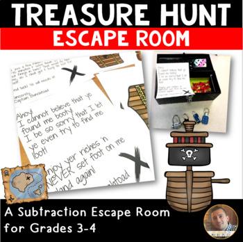 Treasure Hunt: Subtraction Escape Room for Grades 3-4