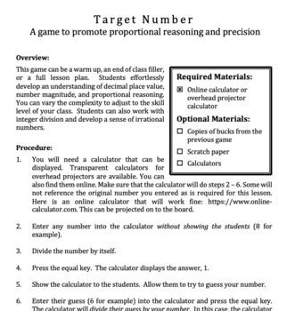 Treasure Hunt, Target Number, and Pins & Posts