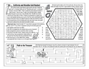 Treasure Hunting and Gold Rushes Two-Page Activity Set