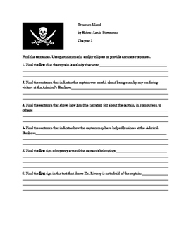 Treasure Island, Find the Sentences, Part One, Chapters 1-6