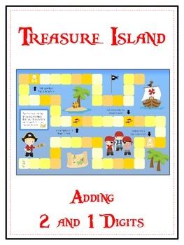 Treasure Island Math Folder Game - Common Core - Adding 2 and 1 Digit Numbers