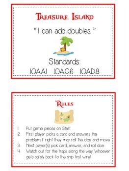 Treasure Island Math Folder Game - Common Core - Adding Doubles