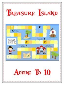 Treasure Island Math Folder Game - Common Core - Adding to 10
