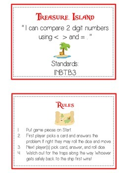 Treasure Island Math Folder Game - Common Core - Comparing 2 Digit Numbers