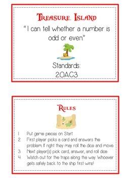 Treasure Island Math Folder Game - Common Core - Even and Odd Numbers