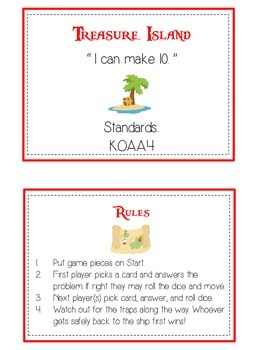 Treasure Island Math Folder Game - Common Core - Making Ten