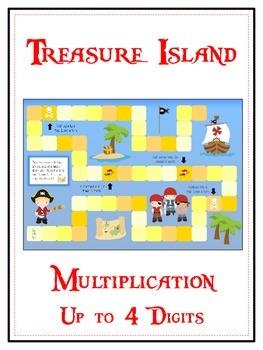 Treasure Island Math Folder Game - Common Core - Multiplication 1 2 3 4 Digits