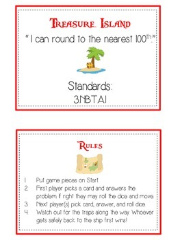 Treasure Island Math Folder Game - Common Core - Rounding to Nearest 100th
