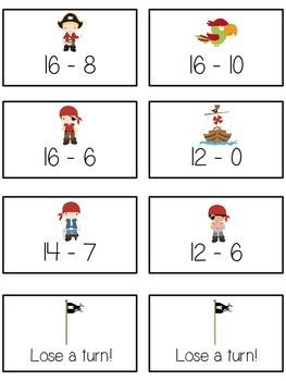 Treasure Island Math Folder Game - Common Core - Subtracting 10 to 20