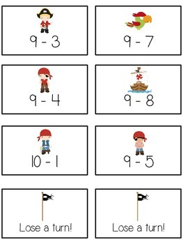 Treasure Island Math Folder Game - Common Core - Subtracting within 10