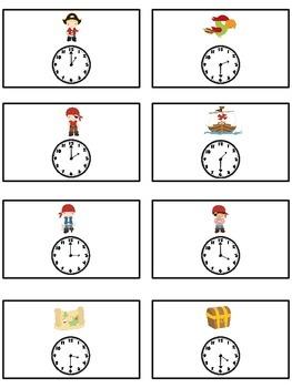 Treasure Island Math Folder Game - Common Core - Telling Time Half Hour Hour