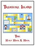 Treasure Island Math Folder Game - Common Core - Telling Time Half Hour Hour