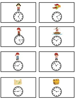 Treasure Island Math Folder Game - Common Core - Telling Time within 5 Minutes