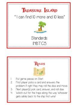Treasure Island Math Folder Game - Common Core - Ten More and Ten Less