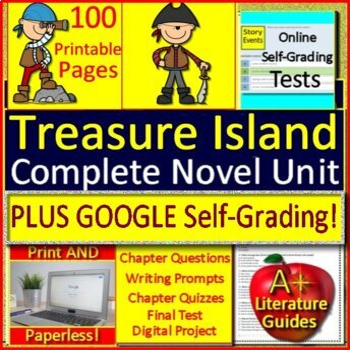 Treasure Island Novel Study Test and Quiz Bundle