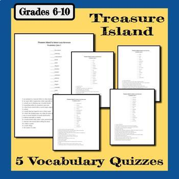 Treasure Island Vocabulary - 5 Matching Quizzes