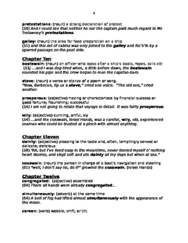 Treasure Island Vocabulary Words:  Answer Key for Vocab of my Reading Guide