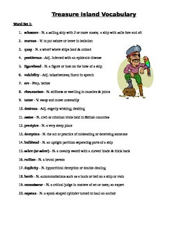 Treasure Island - Vocabulary words and definitions