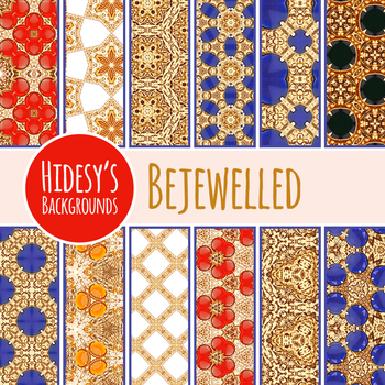 Treasure Jewelled Gold Digital Papers / Backgrounds Clip Art for Commercial Use