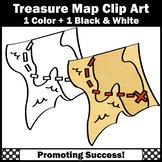 Treasure Map Clipart for Commercial Use Digital Moveable Black and White Pirates