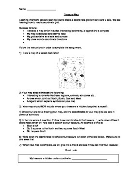 Treasure Map Coordinates Activity