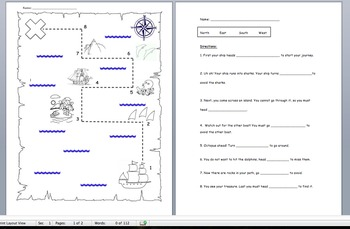 Treasure Map Directional Practice- North East South West