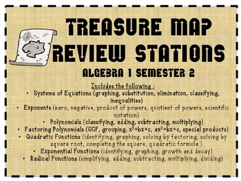 Treasure Map Review (Algebra 1 Semester 2 Review) 40+ pages!